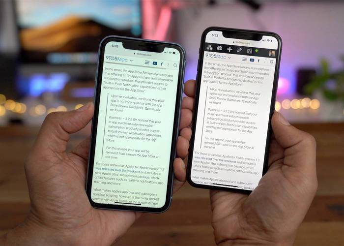 Compare iPhone XR and iPhone X screen