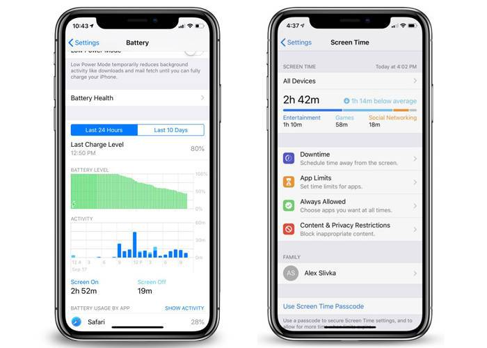 iPhone XR battery chart and screen time