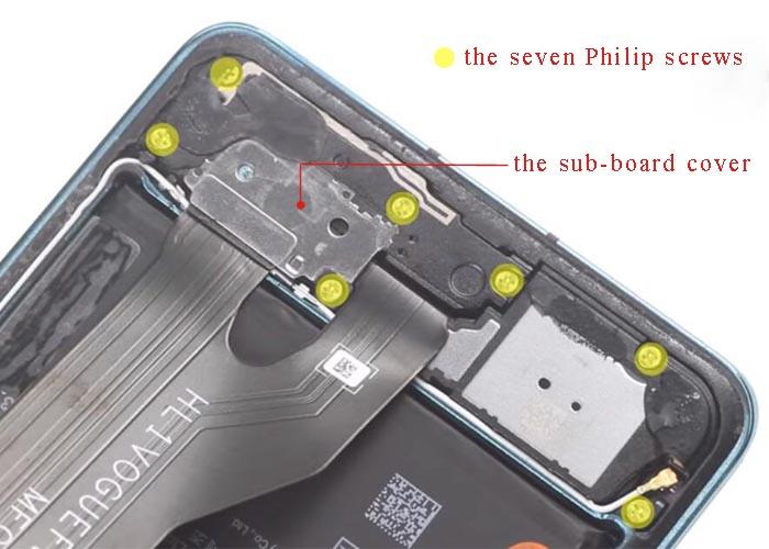 screw back the 7 Philips screws