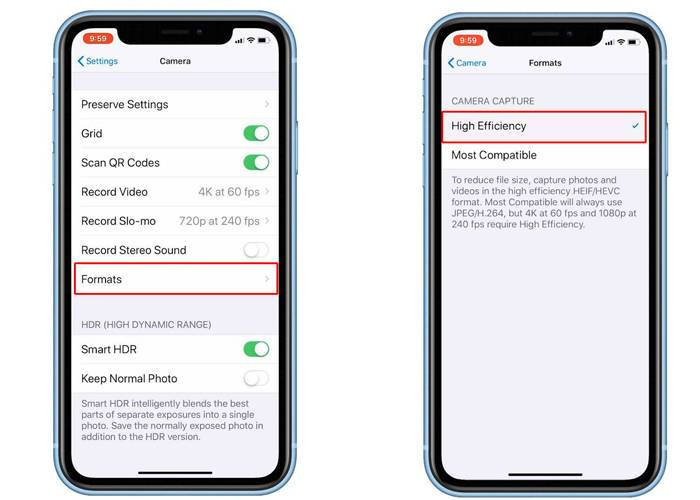 iPhone XR format setting