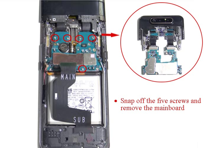 snap off the five screws and remove the mainboard