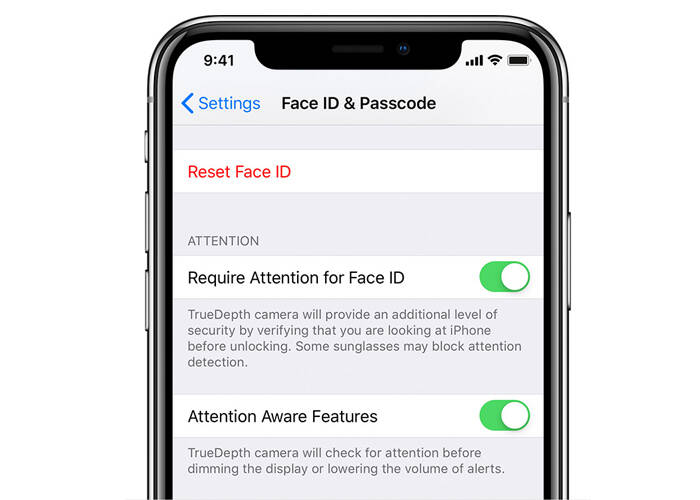 iPhone XS require attention for Face ID