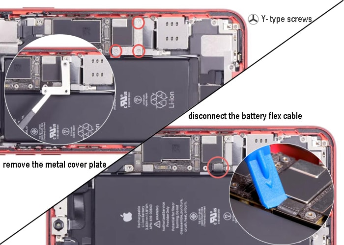 loosen the three Y-type screws and disconnect the battery flex cable