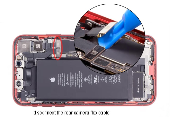 disconnect the camera flex cables