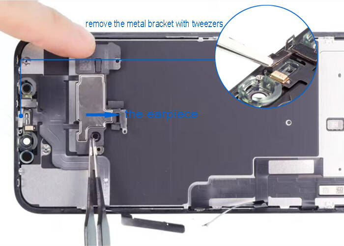 flip the earpiece and remove the metal bracket