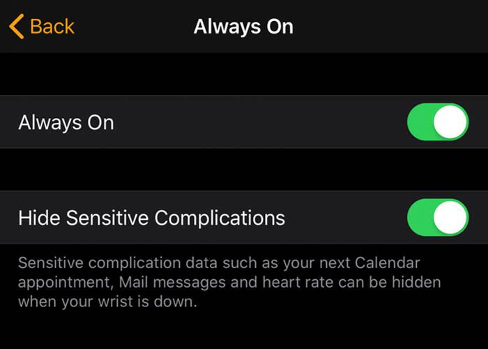 Hide sensitive complication on Apple Watch 5