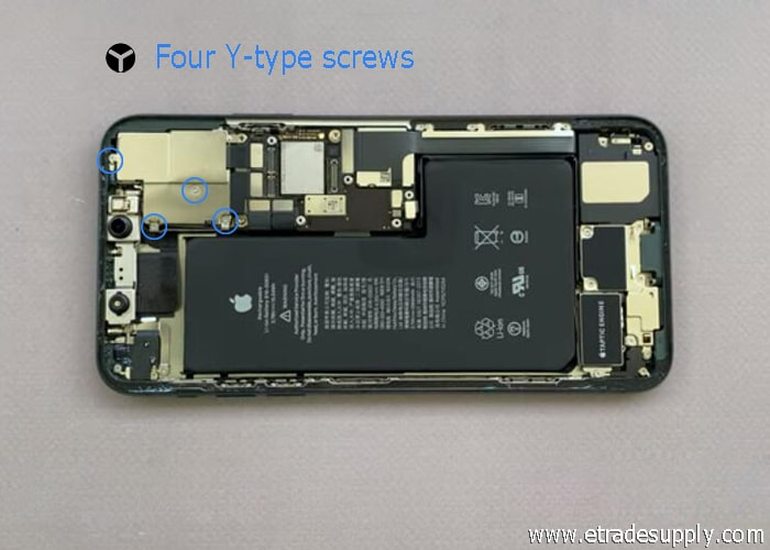 Loosen the four Y-type screws in iPhone 11 Pro