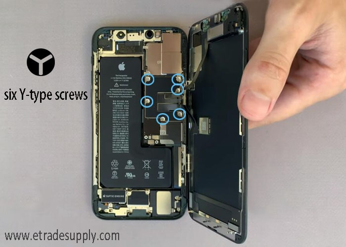loosen the six y-type screws and remove the metal panel
