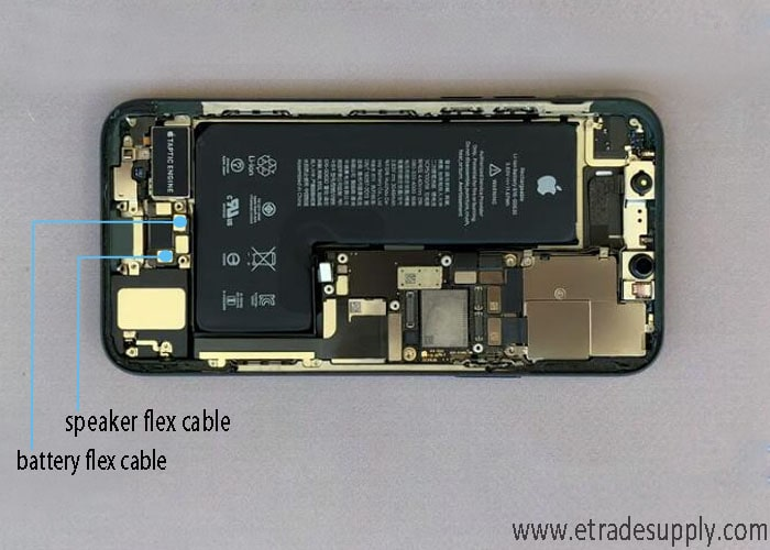 disconnect the battery cable and speaker flex cable