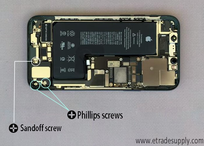 remove the two Phillips screws and a standoff screw