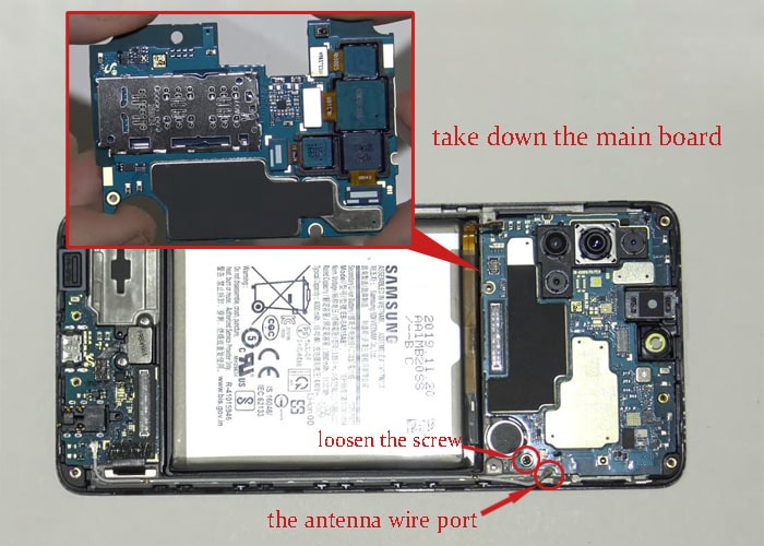 disconnect the antenna wire port and take down the main board
