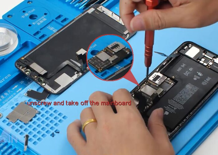 unscrew and take out the mainboard