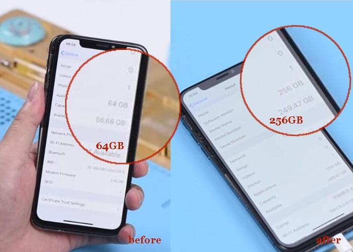 Actualización de la memoria del iPhone X con éxito