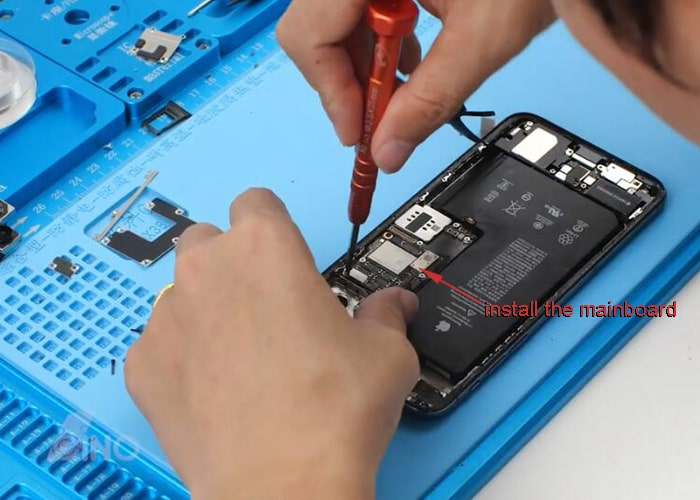 install the mainboard back to the phone