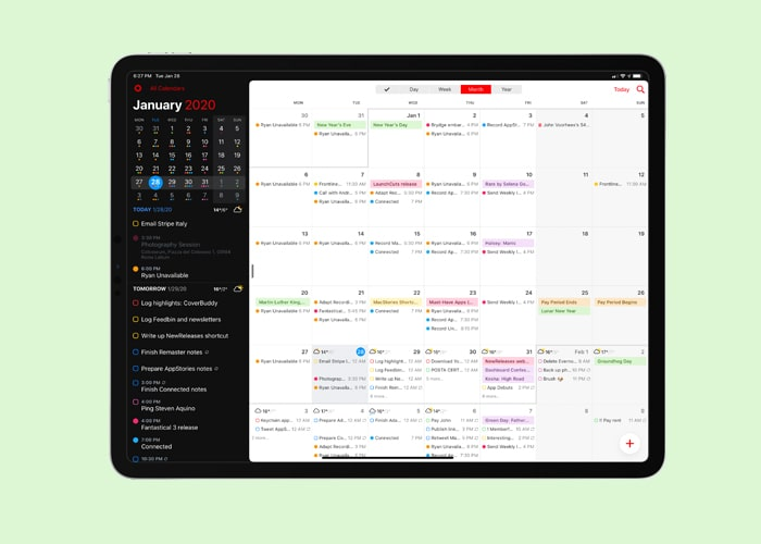 create events on calendar app
