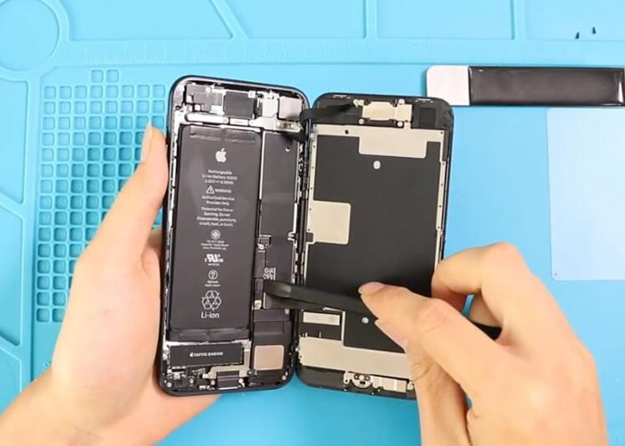 disconnect the battery flex and display flex