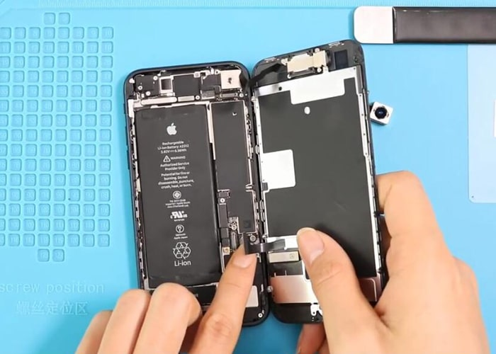 Connect the display and battery flex cables