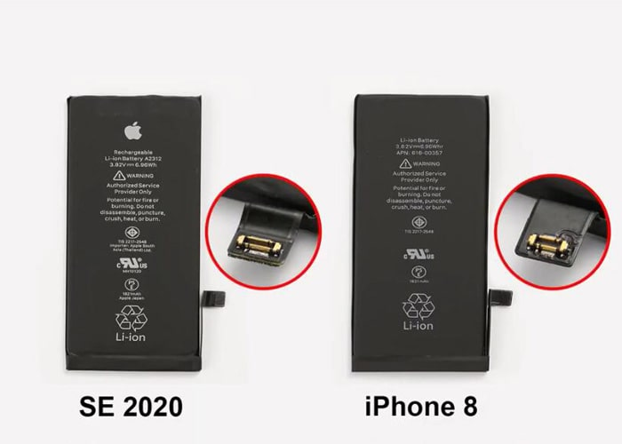 difference between iPhone SE battery and iPhone 8 battery