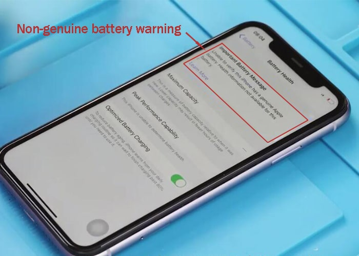Non-genuine battery warning shows