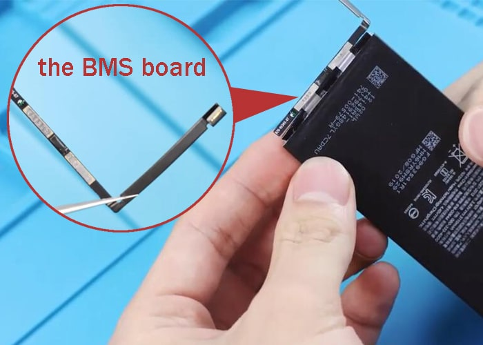 Tear off the battery tape and take the BMS board
