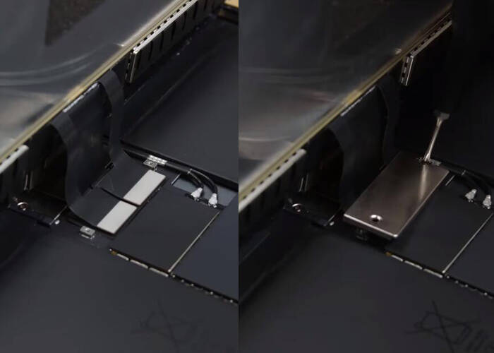 Connect the display flex and fixing it with metal shield and screws