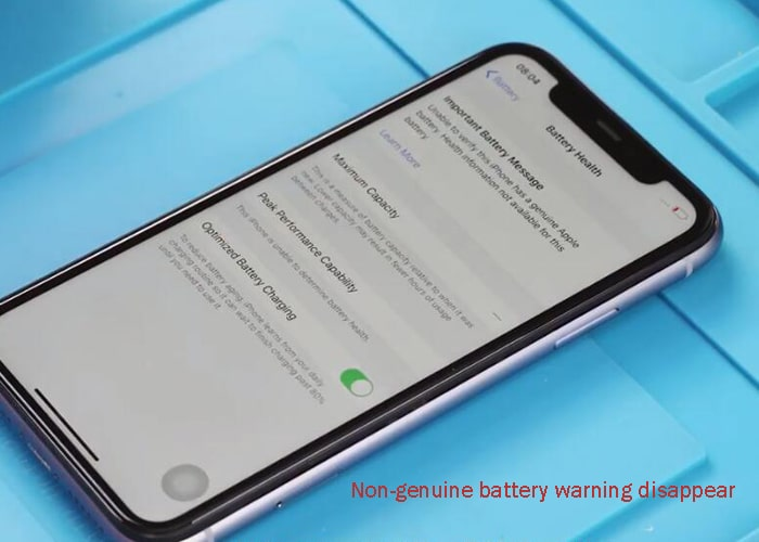 Non-genuine battery warning disappear