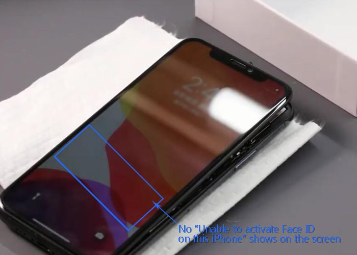 Install the front-facing camera model and test the face ID