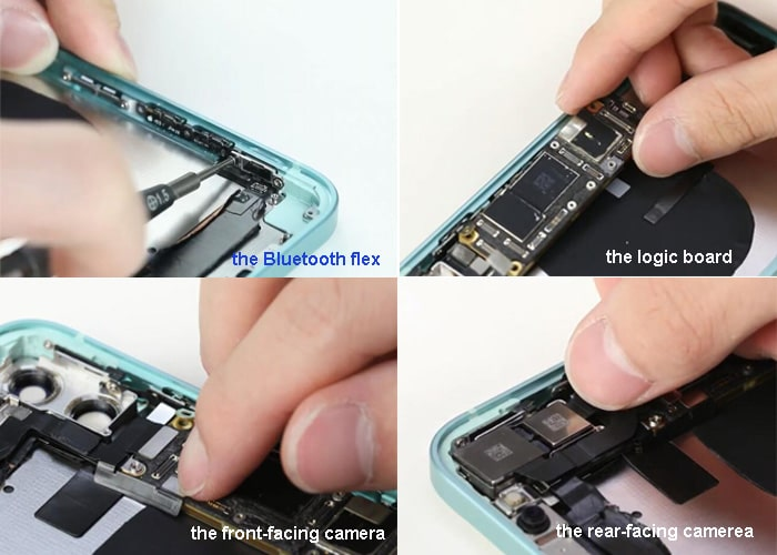 Assemble the inside parts and components to iPhone 12