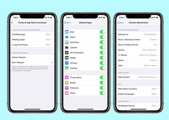 Time pass code on iPhone settings
