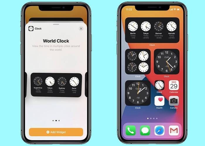 Apps in widget of iPhone 12