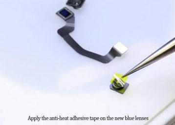 Apply anti-heat adhesive on the new blue lenses