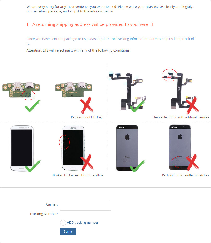 Www etradesupply com media uploaded iphone 5c vs iphone 5 screen jpg - Once The Rma Has Been Approved Please Update The Tracking Information After You Have Sent The Package Out